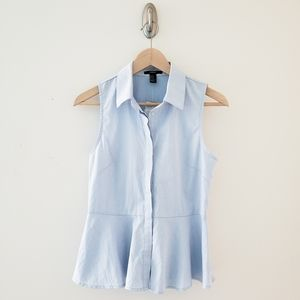 Forever 21 Blue Collared Button Down Peplum Tank